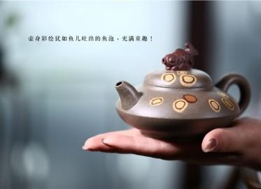 姚华君紫砂壶作品 原矿青灰泥自在壶 240CC 国家级工艺美术师 姚华君紫砂壶价格,多少钱