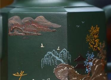 俞震紫砂壶作品 原矿绿泥六方金钟壶 280CC 国家级工艺美术师 俞震紫砂壶价格,多少钱