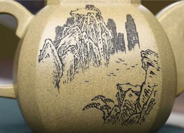 范小中紫砂壶作品|本山绿泥福临八方壶450CC纯手工真品价值