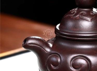 许莘梓紫砂壶作品|乌金砂泥如意掇球壶200CC手制正品价格表