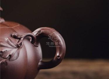牟锦芬紫砂壶作品|原矿紫泥瓜趣壶420CC纯手工真品价格表