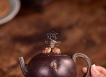 徐海龙紫砂壶作品|原矿青段泥山竹壶210CC纯手工真品价格