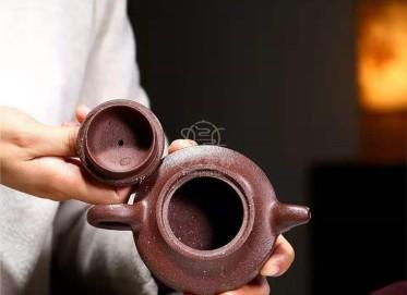 庄其芳紫砂壶作品|紫檀泥汉君壶220CC手工真品价格表