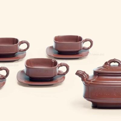 紫砂壶拍卖|范伟群制《四方隐角竹鼓茶具套组》拍出69万元
