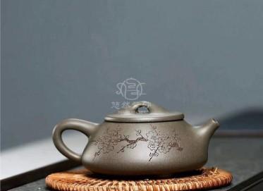 狄威紫砂壶作品|蟹壳青满瓢套组壶280CC全手工正品价格表