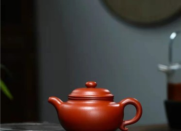 杨鹏紫砂壶作品|原矿朱泥仿古壶280CC手工正品价位