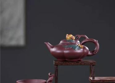 张伟军紫砂壶作品|原矿底槽清小圣桃套壶260CC手工正品多少钱
