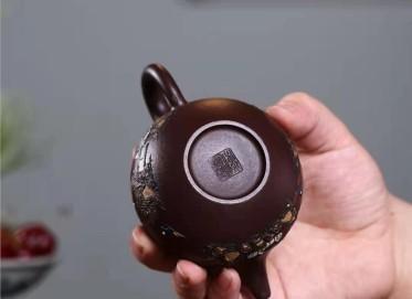 陈顺根紫砂壶作品|原矿紫泥泥绘掇球壶230CC全手工真品怎么样