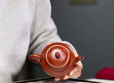 杨鹏紫砂壶作品|小煤窑朱泥秋水壶200CC手制真品价格表