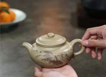 范林强紫砂壶作品|本山绿泥仿古壶320CC纯手工正品行情