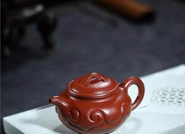 许华芳紫砂壶作品|原矿大红袍仿古如意壶310CC全手工真品价格表