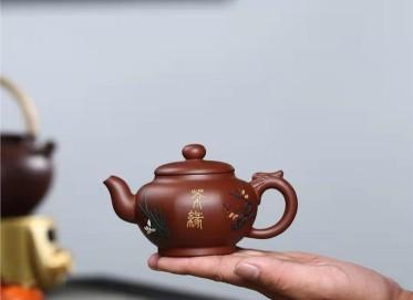 陈顺根紫砂壶作品|原矿红皮龙龙行八方壶200CC纯手工真品价位