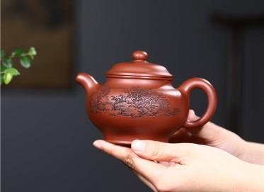 史宗娟紫砂壶作品|原矿清水泥掇只壶320CC全手工正品价位