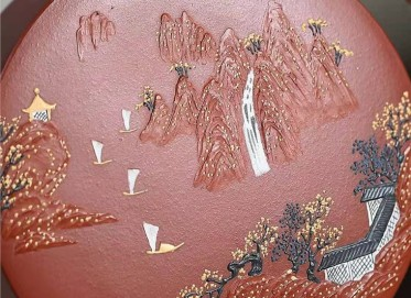 陈亚萍紫砂壶作品 原矿清水泥却月壶460CC手工正品价位
