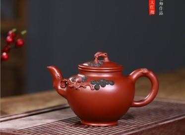 史宗娟紫砂壶作品|原矿大红袍松枝报春壶280CC手工正品价值