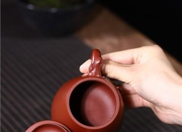 史宗娟紫砂壶作品|原矿大红袍高石瓢壶230CC手工正品多少钱