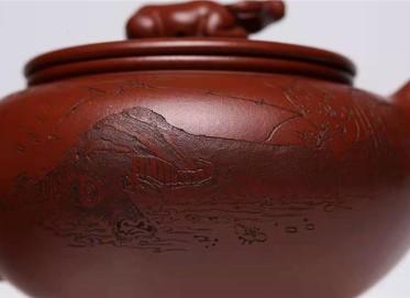 范秀芳紫砂壶作品|原矿紫泥牛气冲天壶400CC手工正品价值