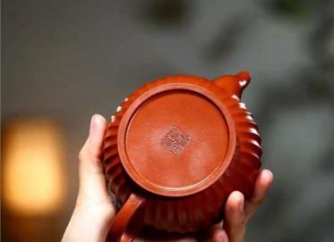 单志萍紫砂壶作品 原矿大红袍菱花禅心壶230CC手制正品多少钱