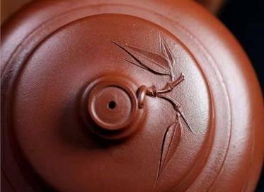 王国祥紫砂壶作品 原矿底槽清竹报平安壶480CC纯手工真品价值