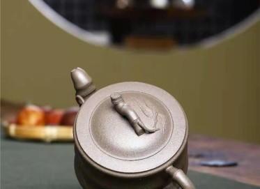 朱正琴紫砂壶作品|原矿青灰泥竹段壶300CC全手工正品行情