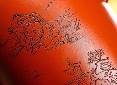 朱正琴紫砂壶作品|原矿朱泥龙凤呈祥壶430CC手制真品价位