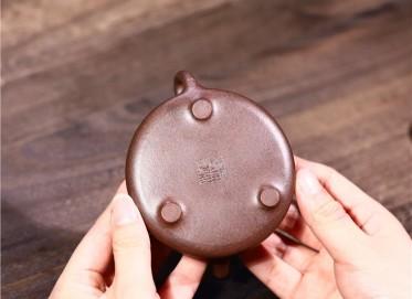 徐勤紫砂壶作品|黑星砂子冶石瓢壶140CC手工正品价格表