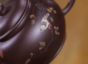 韩惠琴紫砂壶作品|原矿紫泥水平壶250CC纯手工正品多少钱