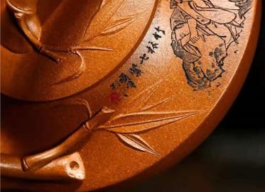 储国峰紫砂壶作品|原矿黄金段泥七贤提梁壶580CC全手工真品价值