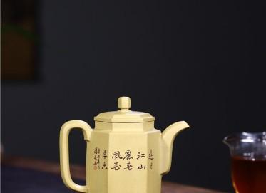 徐永君紫砂壶作品 本山绿泥古井六方壶330CC手工正品多少钱