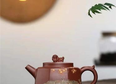 许华芳紫砂壶作品|原矿底槽清八方来财壶420CC全手工真品价格表