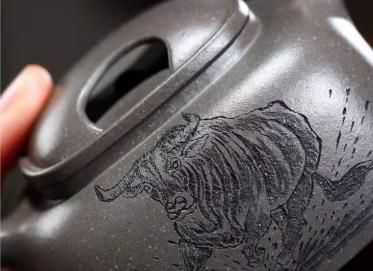 陶金兰紫砂壶作品|天青泥四方牛盖壶240CC手制正品价格
