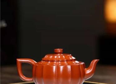 陶金兰紫砂壶作品|原矿大红袍菱花汉韵壶230CC纯手工真品多少钱
