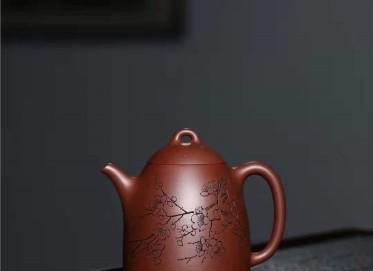 刘莹紫砂壶作品|文革紫泥古韵秦权壶300CC手工真品价值