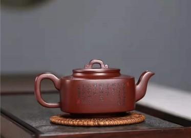 刘莹紫砂壶作品|玫瑰紫泥四方君玉壶400CC纯手工正品价位
