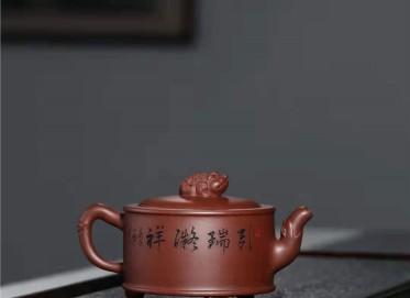 刘莹紫砂壶作品 原矿紫泥刘海戏金蟾壶360CC纯手工真品价值