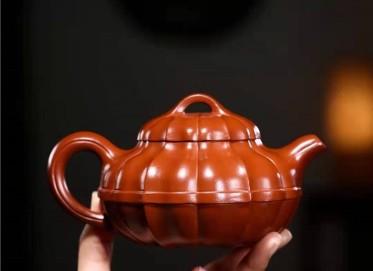 陶金兰紫砂壶作品|原矿大红袍合菱壶320CC手工正品价格