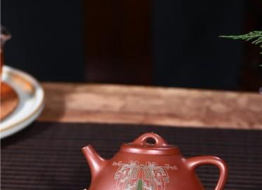 徐永君紫砂壶作品 原矿紫泥子冶石瓢壶300CC手制真品价格