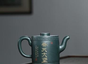 宋晓伟紫砂壶作品 民国绿泥齐天大圣壶350CC纯手工正品价位