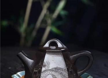 徐建平紫砂壶作品|乌金泥六方霸王瓢壶260CC手工真品行情