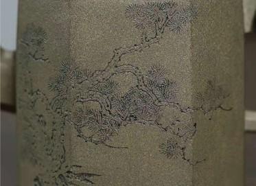 许华芳紫砂壶作品|原矿青段泥高八方壶400CC手工真品价位