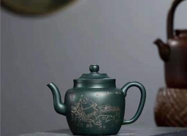 宋晓伟紫砂壶作品 民国绿泥玉笠壶400CC手工真品价格表