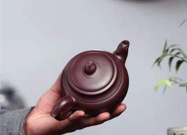 陶金兰紫砂壶作品|原矿紫泥凤鸣壶330CC手工正品价格表