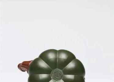 杨慧英紫砂壶作品|民国绿泥双色南瓜壶420CC全手工真品价格