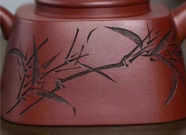 许华芳紫砂壶作品|原矿龙血砂行方壶380CC全手工真品价位