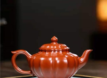 陶金兰紫砂壶作品 原矿大红袍筋纹笑樱壶260CC纯手工正品价格表