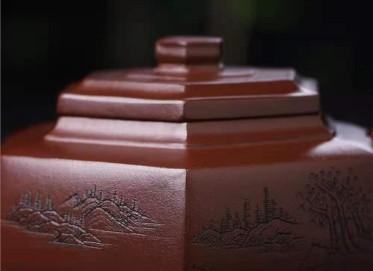 徐建平紫砂壶作品|原矿紫泥六方雪华壶200CC手制正品价格表