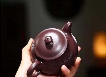 陶金兰紫砂壶作品|原矿紫泥潘壶240CC全手工真品价值