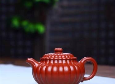 徐建平紫砂壶作品 原矿大红袍筋纹仿古壶230CC手工正品价位
