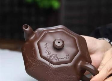 耿浩紫砂壶作品|原矿紫泥纵横捭阖壶330CC手制真品价格
