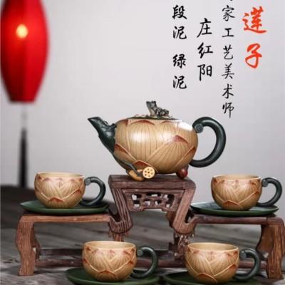 庄红阳作品 青蛙莲子套壶